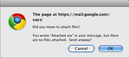 Gmail suggests that I forgot my attachments